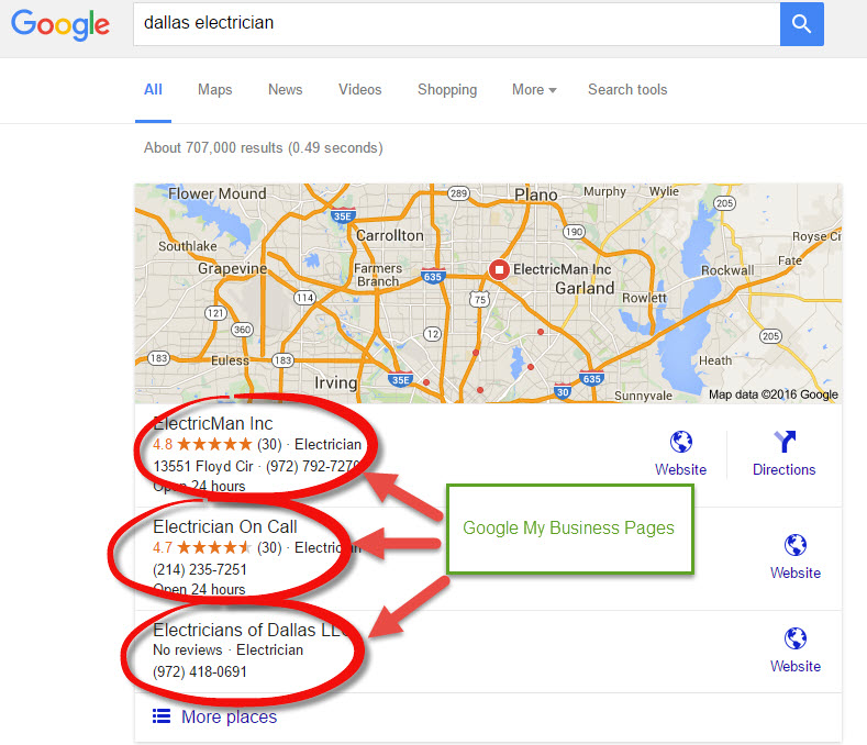 Dallas Google My Business Pages Examples